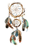 Watercolor ethnic dreamcatcher. Dreamcatcher with feathers. Watercolor ethnic dreamcatcher. Hand painted illustration for your design Royalty Free Stock Images