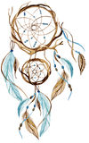 Watercolor ethnic dreamcatcher. Stock Photo