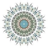 Watercolor ethnic feathers abstract mandala. Royalty Free Stock Photo