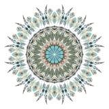 Watercolor ethnic feathers abstract mandala. stock illustration