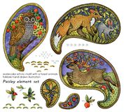 Watercolor ethnic motif with a forest animals. folklore illustration. paisley element set. Watercolor ethnic motif with a forest animals. folklore hand drawn royalty free illustration