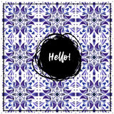 Watercolor ethnic pattern whith word Hello and Ornament Royalty Free Stock Photo