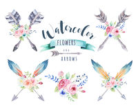 Watercolor ethnic set of arrows and flowers in native American s Stock Photos