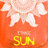 Watercolor ethnic sun background with text place at the bottom Royalty Free Stock Image