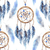 Watercolor ethnic tribal hand made feather dream catcher seamless pattern.  vector illustration