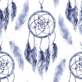 Watercolor ethnic tribal hand made feather dream catcher seamless pattern Royalty Free Stock Photo