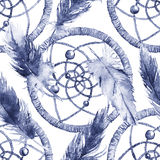 Watercolor ethnic tribal hand made feather dream catcher seamless pattern Stock Photography