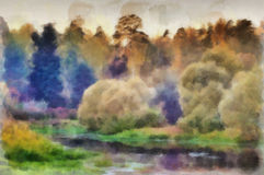 Watercolor evening. Evening landscape with forest river. Watercolor painting royalty free illustration