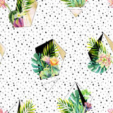 Watercolor exotic abstract terrarium plants seamless pattern. stock illustration