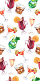 Watercolor exotic drink alcohol cocktail seamless pattern texture Royalty Free Stock Image