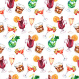 Watercolor exotic drink alcohol cocktail seamless pattern texture Stock Photos