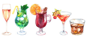 Watercolor exotic drink alcohol cocktail set isolated.  Royalty Free Stock Image