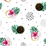 Watercolor exotic flowers and abstract texture circles background. Water color tropical floral painting and ink scribble, golden glitter seamless pattern. Hand Royalty Free Stock Photos