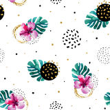 Watercolor exotic flowers and abstract texture circles background. Water color tropical floral painting and ink scribble, golden glitter seamless pattern. Hand Royalty Free Stock Image