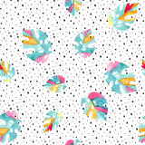 Watercolor exotic leaves background. stock illustration