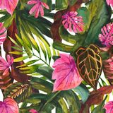 Water color tropical floral painting seamless pattern. vector illustration