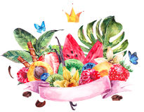 Watercolor Exotic Menu Fruits Card vector illustration