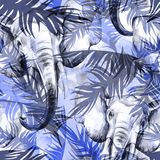 Watercolor exotic seamless pattern. Elephants with colorful tropical leaves. African animals background. Wildlife art vector illustration