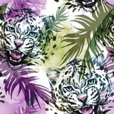 Watercolor exotic seamless pattern. Leopards with colorful tropical leaves. African animals background. Wildlife art stock illustration