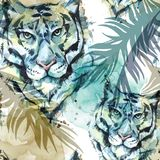 Watercolor exotic seamless pattern. Tigers with colorful tropical leaves. African animals background. Wildlife art. Illustration. Can be printed on T-shirts Stock Image