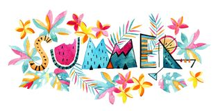 Free Watercolor Exotic Summertime Background. Stock Photo - 93715650