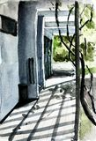 Watercolor of external walkway with shadow on the floor. Watercolor painting of external corridor brighten by natural light with shadow of ivy and louver on Royalty Free Stock Photos