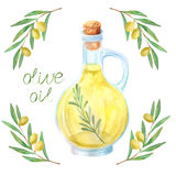 Watercolor extra olive oil bottle olives leaves. Watercolor extra olive oil bottle and olives with leaves on white background. Vector illustration, hand drawn vector illustration