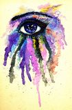 Watercolor Eye. Abstractive illustration of an eye splashing, watercolor and ink Royalty Free Stock Photo
