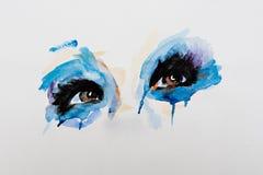Watercolor eye, hand painted fashion illustration Stock Image