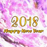 Watercolor/2018 för lyckligt nytt år Arkivbild