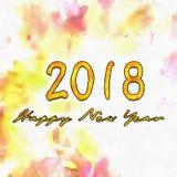 Watercolor/2018 för lyckligt nytt år Arkivfoto