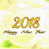 Watercolor/2018 för lyckligt nytt år Arkivbilder