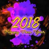 Watercolor/2018 för lyckligt nytt år Fotografering för Bildbyråer