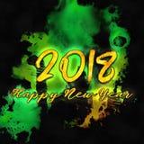 Watercolor/2018 för lyckligt nytt år Royaltyfria Bilder