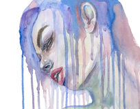 Watercolor  face. Illustration watercolor face , made watercolor . on white background Royalty Free Stock Images