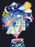 Watercolor fairy tale background Stock Photos