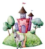 Watercolor fairy tale card witn unicorn and castle. Hand painted green trees and bushes, castle, unicorn isolated on stock illustration
