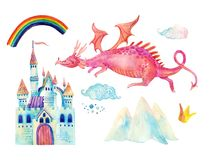 Watercolor fairy tale collection with cute dragon, rainbow, magic castle, little princess crown, mountains and fairy clouds Royalty Free Stock Images