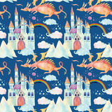 Watercolor fairy tale seamless pattern with cute dragon, magic castle, mountains and fairy clouds Stock Image