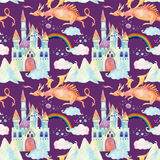 Watercolor fairy tale seamless pattern with cute dragon, magic castle, mountains and fairy clouds Stock Photography