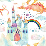 Watercolor fairy tale seamless pattern with cute dragon, magic castle, mountains and fairy clouds Royalty Free Stock Image