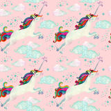 Watercolor fairy tale seamless pattern with flying unicorn, magic clouds and rain Royalty Free Stock Photo