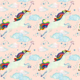 Watercolor fairy tale seamless pattern with flying unicorn, magic clouds and rain Stock Image
