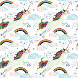 Watercolor fairy tale seamless pattern with flying unicorn, rainbow, magic clouds and rain Stock Images