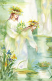 Watercolor fairy woman illustration with flowers near lake Royalty Free Stock Photos