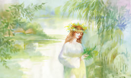 Watercolor fairy woman illustration with flowers near lake Royalty Free Stock Image