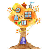 Watercolor Fairytale Oak With Windows, Garlands, Lamps, Flags. Stock Photography