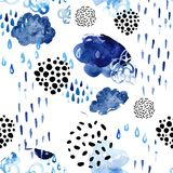 Watercolor fall shower seamless pattern. Royalty Free Stock Photography