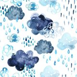 Watercolor fall shower seamless pattern. Royalty Free Stock Photos
