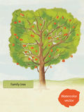 Watercolor family tree. Hand drawn, vector vector illustration